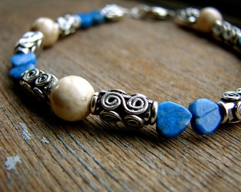 Inca - Blue Stone and Sterling Silver Beaded Bracelet