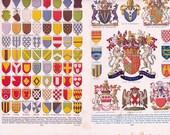 3 page set of vintage encyclopaedia pages- heraldry