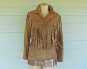 Vintage 1960s Hippie Doeskin Suede Fringe Jacket S M