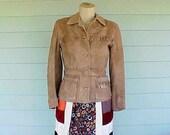 vintage 1960's hippie suede leather fringe belted jacket XS