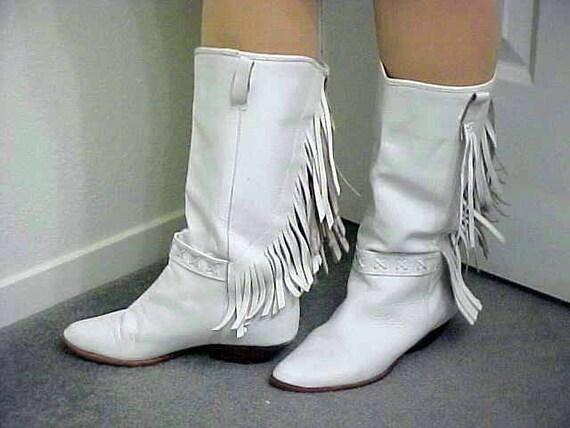 White Leather Fringe Womens Cowboy Boots Size 8