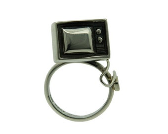 Television Ring, Sterling Silver, Oxidised Silver, I'd rather be watching TV, Made in Brighton, UK