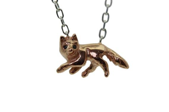 SALE!! Fox Necklace, Silver Fox Pendant, Black Diamonds Eyes, Rose Gold Plate, Handmade in England, uk