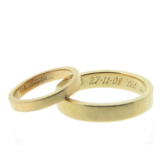 Items similar to gold wedding ring ladies 3mm wedding for Wedding ring engraving