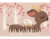 Illustration print: Good night little deer. Limited /200 A5