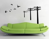 Telephone Pole and Flying Birds - Wall Decal