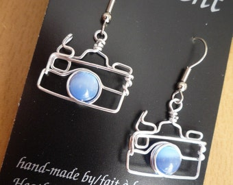 Camera Earrings with Blue Beads