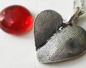 Sterling Silver Double Fingerprint Thumbprint Heart Necklace