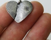 Fingerprint Heart Jewelry Necklace Personalized Thumbprint Sterling Silver