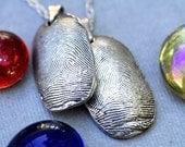 Custom Fingerprint Jewelry Necklace Thumbprint in Sterling Silver Personalized