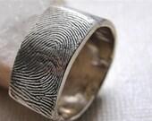 Fingerprint Custom  Ring Wedding Band in Sterling Silver