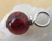 Garnet January Birthstone Charm Sterling Silver Wire Wrapped