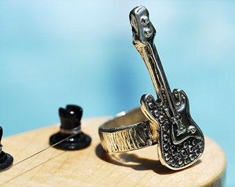 Guitar Ring in Sterling Silver