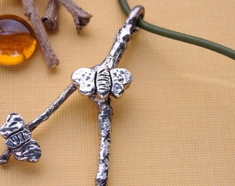 Sterling Silver Wishbone Twig Butterfly Necklace