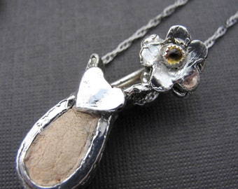 Sterling Silver Flower Blossom Vase with Beige Leather Necklace