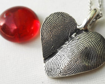 Custom Fingerprint  Heart Necklace Jewelry Double Thumbprint Sterling Personalized