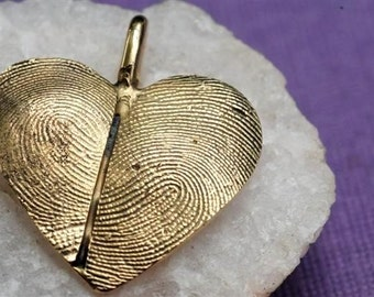 Custom Fingerprint Heart Necklace in 14kt Gold Thumbprint Personalized