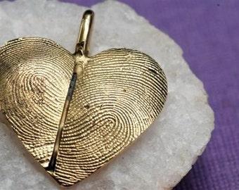 Custom Fingerprint Heart Necklace in 14kt Gold Thumbprint Personalized