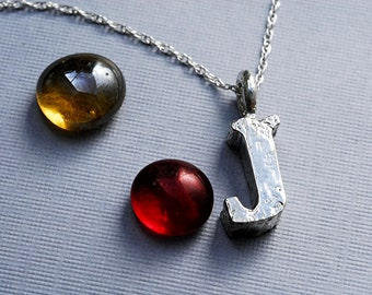Letter J Necklace Personalized in Sterling Silver