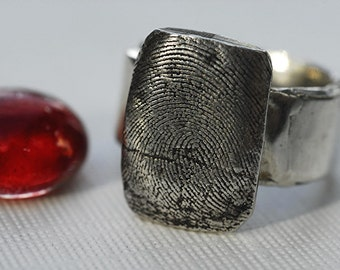 Fingerprint Thumbprint Ring in Sterling Silver Personalized