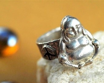 Buddha Silver Ring Jewelry Peace Sign in Sterling Silver