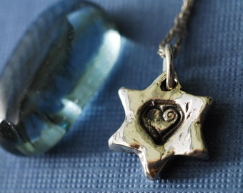 Star of David Necklace in Sterling Silver with Heart