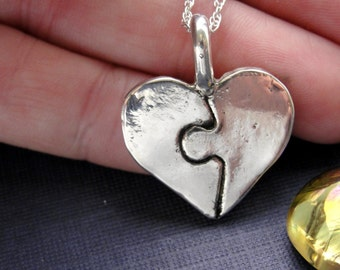 Puzzle Piece Heart Necklace in Sterling Silver Personalized