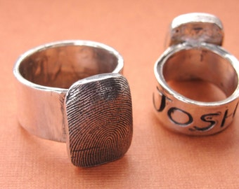 Fingerprint Ring Thumbprint Personalized in Sterling Silver