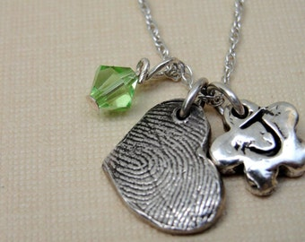 Fingerprint Thumbprint Necklace with Heart Birthstone Flower in Sterling Silver