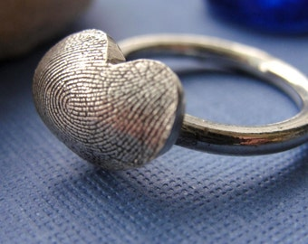 Fingerprint  Ring Silver Thumbprint Ring in Sterling Silver