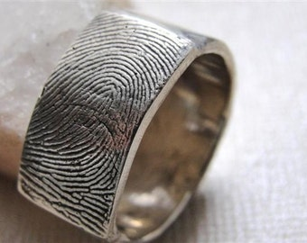 Fingerprint Custom  Ring Wedding Band in Sterling Silver