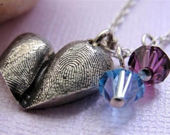 Fingerprint Heart Necklace Thumbprints in Sterling Silver Personalized
