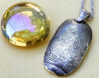 Fingerprint Silver Necklace Jewelry Personalized Thumbprint Sterling Silver