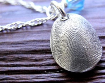 Fingerprint Jewelry Necklace Thumbprint Personalized in Sterling Silver