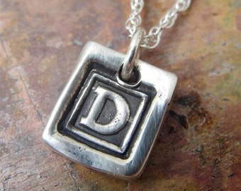 Initial Charm Necklace in Sterling Silver Personalized