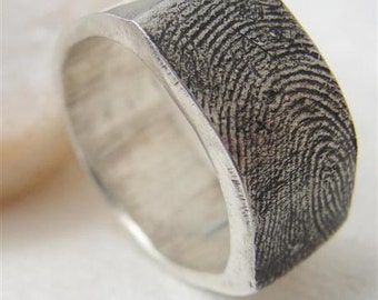 Fingerprint Ring Wedding Band Jewelry in Sterling Silver