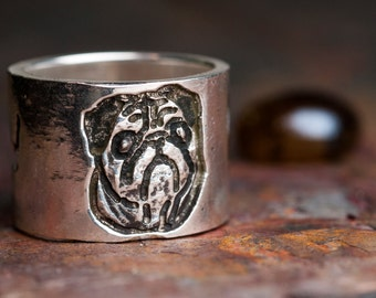 Custom Dog Portrait Ring Pet Portrait Personalized Sterling Silver