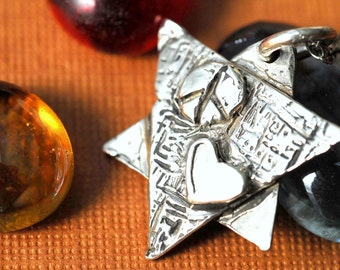Star of David Necklace in Sterling Silver with Heart and Peace Sign