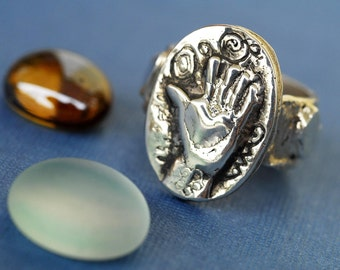 Fingerprint Hand Ring in Sterling Silver