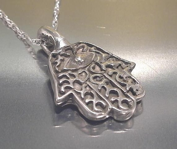 hamsa necklace in sterling silver by rockmyworldinc