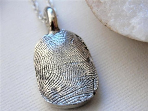 Sterling Silver Fingerprint Thumbprint Necklace Personalized