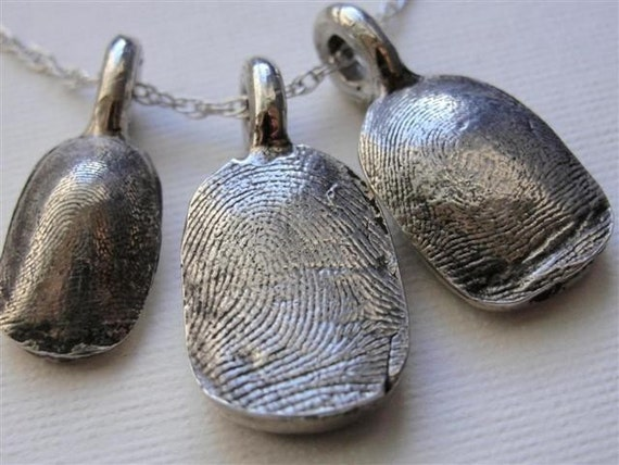Silver Fingerprint Necklace Jewelry Thumbprint Personalized Sterling Silver