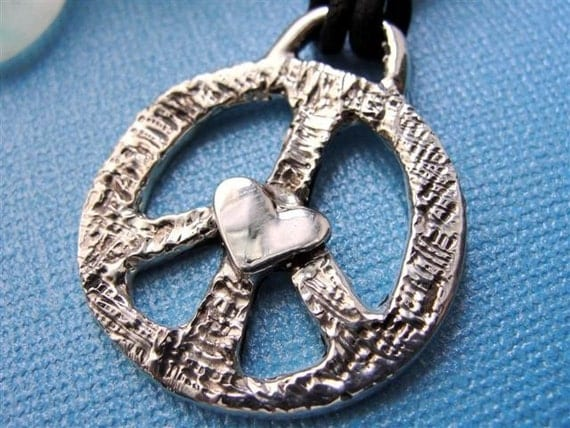Peace Sign Necklace Jewelry Heart Sterling Silver