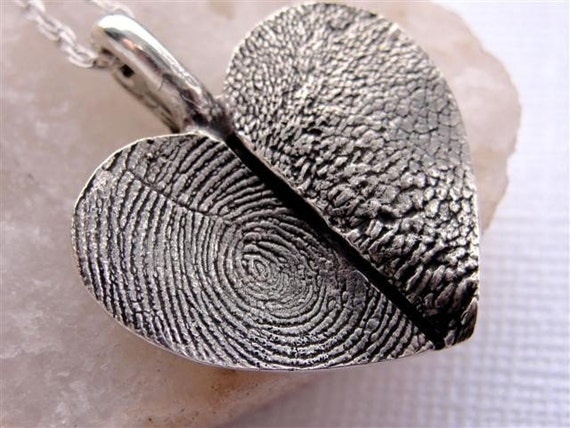 Silver Heart Fingerprint and Paw Print Necklace