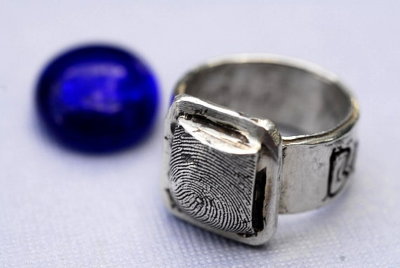 Custom Fingerprint Ring Jewelry  Thumbprint Personalized in Sterling Silver