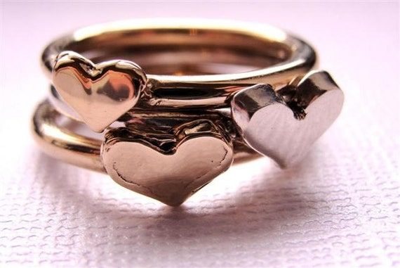Heart Rings Jewelry Stackable 14kt Gold and Sterling Silver