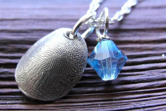 Fingerprint Necklace Thumbprint Personalized in Sterling Silver