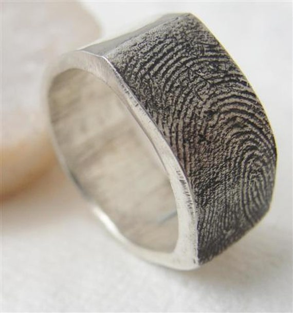 Fingerprint Ring Wedding Band Jewelry In By Rockmyworldinc On Etsy