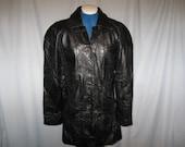 Vintage 80s Black Leather Patchwork Cellini Jacket Coat Clothing