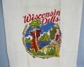 Vintage 50s Wisconsin Dells Cannon Souvenir Towel